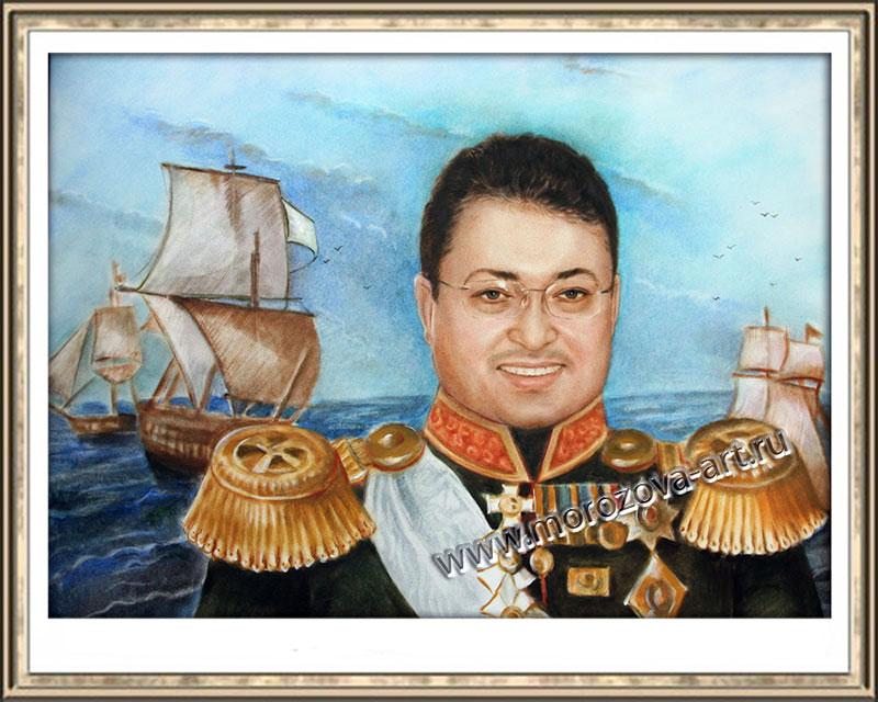 Наш отважный Адмирал - портретный шарж обидчивому руководителю в подарок от сотрудников