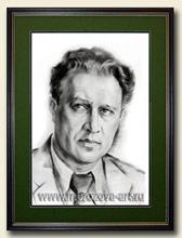 Известный советский композитор Борис Мокроусов, сухая кисть, уголь, бумага, выполнен на заказ.