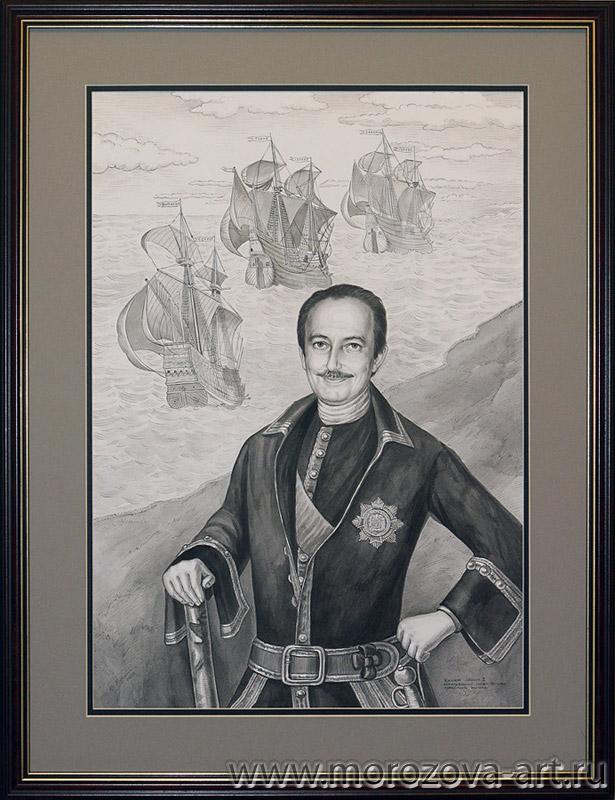 Портрет современника в историческом костюме тушью на хлопковой бумаге, оригинал - Портрет Петра I Луи Каравака