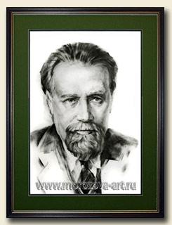 Известный советский композитор Николай Мясковский, сухая кисть, уголь, бумага