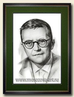 Чёрно - белый портрет выдающегося композитора Дмитрия Шостаковича