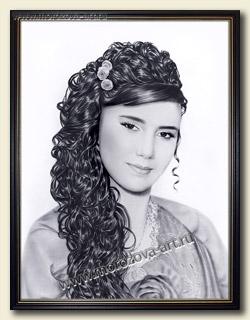 Восточная Красавица, портрет в технике сухая кисть на заказ.