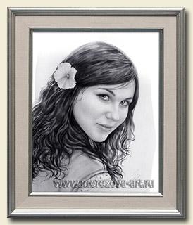 Графический портрет молодой девушки, портреты Сухая Кисть на заказ.