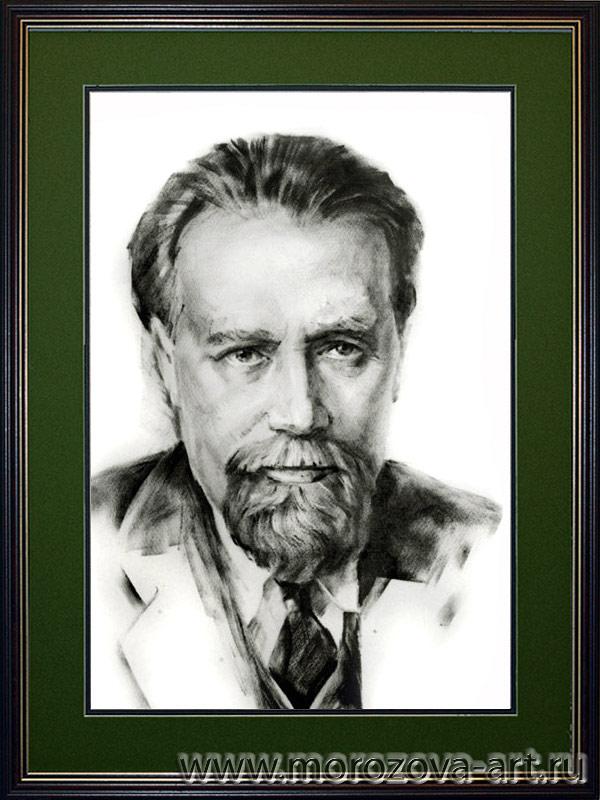 Композитор Николай Мясковский, портрет уголь, сухая кисть, бумага, выполнен на заказ для Музыкального Фонда СКР.