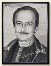 Фрагмент портрета тушью – крупный план с прорисовкой лица.