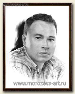 Портрет молодого человека, техника сухая кисть