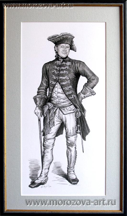 Портрет современника в историческом костюме, рисунок тушью на заказ, по фотографии.