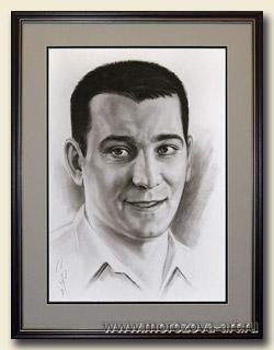Актёр театра и кино Ярослав Бойко (Yaroslav Boyko), графический портрет углём на бумаге, выполнен на заказ