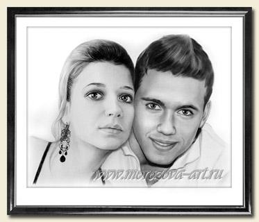 Двойной портрет по фотографии на заказ, выполненный сухой кистью.