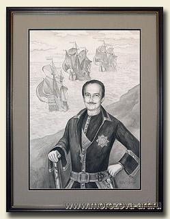 Портрет современника в историческом костюме тушью