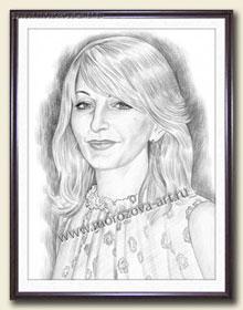 Портрет улыбающейся женщины рисуем