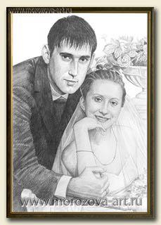 Портрет карандашом в стиле реализм в подарок на годовщину свадьбы