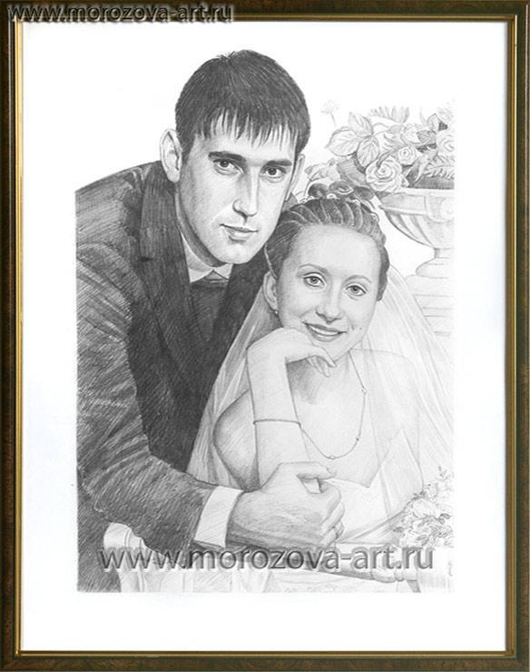 Свадебный портрет карандашом, мужские и женские карандашные портреты по фото заказчика