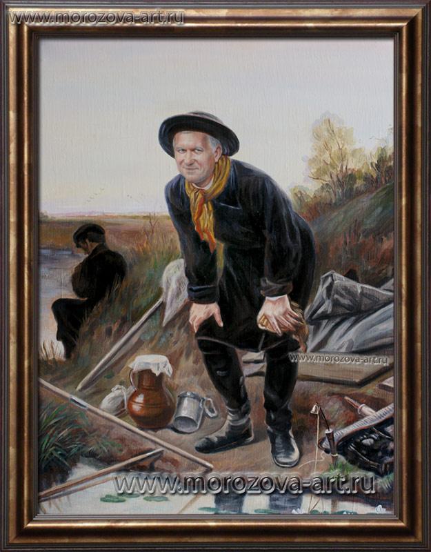 картина рыбак в шляпе