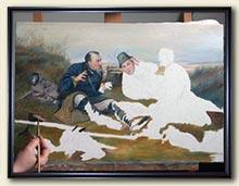 Начальный этап работы над картиной: чистый холст с рисунком и очерченные мазками контуры фигуры первого охотника.