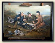 Практически законченная копия картины с охотниками без багетной рамы.