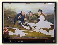 Средний этап работы над картиной – прописаны лица охотников и большая часть фона.