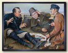 Фрагмент полностью готовой копии картины Охотники на привале в натуральную величину.