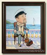 Сюжетный шарж на заказ, дорогой шеф в образе Остапа Бендера, масляными красками на холсте. 40 х 50см.