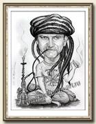 Растаман, сюжетный шарж карандашом, 30 х 40см.